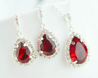 Red Bridal Jewelry Red Bridesmaid Jewelry Ruby Bridesmaid Jewelry Drop Earring Ruby Wedding Earring July Birthstone Davids Bridal Apple Siam