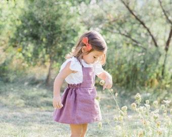 Toddler Linen Dress, Linen Pinafore, Cross Back Dress, Made of 100% Linen in Antiqur Rose, 12-18months, 2T, 3T, 4T
