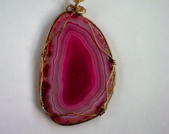 Pink Quartz Wire Wrapped Pendant - 4822