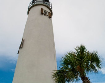 Color Photography, Lighthouse, St. George Island, Florida, Seagull, Palm Tree, Wall Art, Print, Clouds, Beach, Ocean