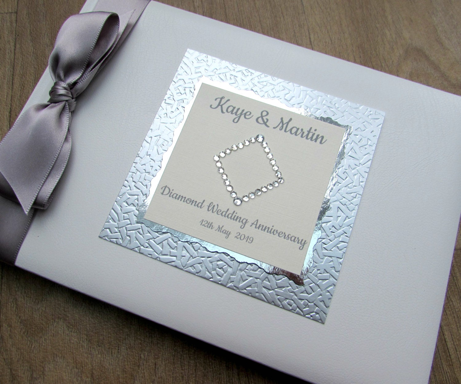 Wedding Photo Books Uk: Diamond 60th Wedding Anniversary Guest Book Personalised