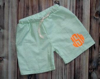 MONOGRAMMED or Plain Little Boys Green Seersucker Bathing Suit - Swim Trunks - Personalized or Blank - Swim Shorts - Lime - Pool Beach