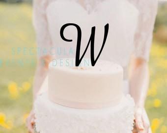 5 tall monogram inital letter cake topper letter w cake topper wedding cake topper