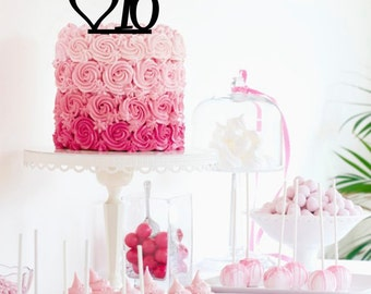 Sweet Sixteen 16 Cake Topper With Heart