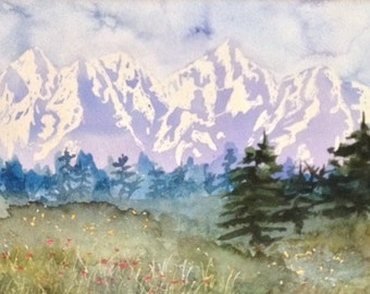Mountain Landscape Watercolor Painting - Original Watercolor Mountain - Mountain and Field Painting - Snow Capped Mountain Painting