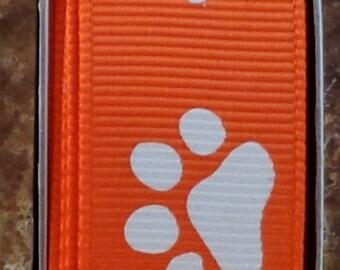 "2 Yards 7/8"" Orange with White Animal Paw Print  Grosgrain Ribbon - Team - Cheer - School - US Designer"