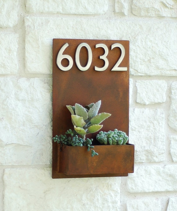 Metal Wall Planter east side planter w/ silver address numbers address sign