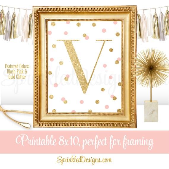 Wall Decor Letter V : Printable baby girl nursery decor wall art letter v