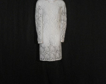 Vintage 50s Dress Beaded Nancy Johnson Chic White Lace Garden Party Wedding Dress ML