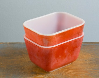 Pair of Red Pyrex 501 Refrigerator Dishes