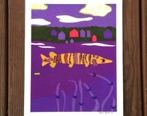 Musky Fishing in the Lake - Print of a Hand Cut Collage - by Laura Lynne