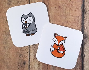 Baby Mini Cards, Woodland Creature Shower Cards, Blank Note Cards, Advice Cards, Fox Cards, Owl Cards, Mini White Envelopes, Set of 10