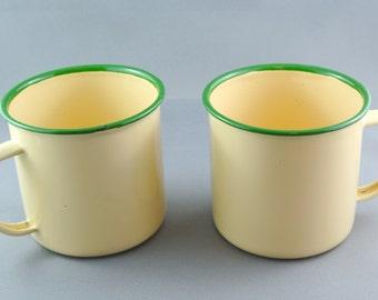 Goldfish Lemon Yellow and Green Enamelware mugs
