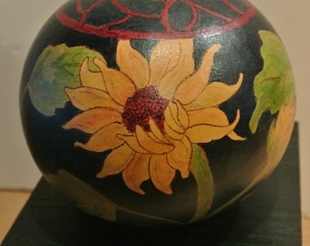 Hand painted art gourd signed by the artist-Gorgeous colors