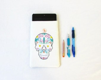 Skull kindle cover, sugar skull hand embroidery, 7 inch tablet case, nexus 7, kindle fire, Tech gift for teen, handmade in the UK