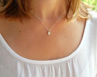 key Lock sterling silver dainty necklace, key lock silver necklace, minimalist necklace, gift necklace, bridesmaids necklace 220