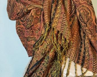 FREE  SHIPPING  Vintage Silk Cashmere Shawl