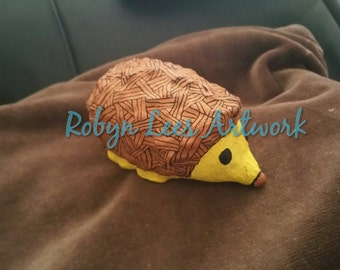 Hand Painted Hedgehog Ornament Sculpture Figure in Brown, Yellow & Black Waterproof, Fadeproof Paint with Signed CoA