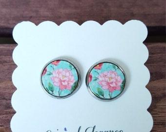 Stud Earrings - Vintage Flowers - Stainless Steel - 12mm