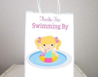 Pool Party Goody Bags, Pool Party Favor Bags, Pool Party Favor, Goody, Gift Bags - Girls Pool Party