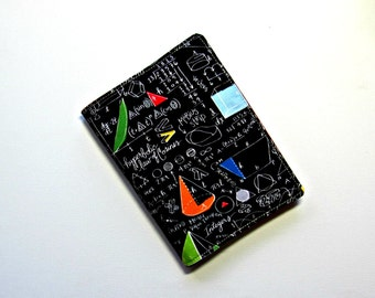 Funky book sleeve.  A5 or A6 Refillable maths, science fabric cover for diary, notebook, journal, paperback.  Protective reading book cosy.