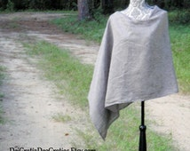 Pure Linen Poncho // Shawl // Nursing {Black Chambray} many colors to choose from//Modest Attire