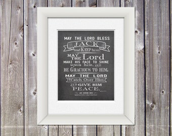 Baptism Gift -  Numbers 6 24-26 - Gift for Baptism - Personalized Gift - Christening Gift - DIGITAL FILE ONLY - Chalkboard Art