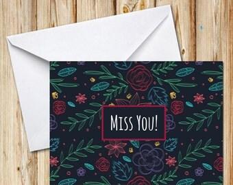 Miss You, Greeting Card, Postcard, Digital File, Instant Download