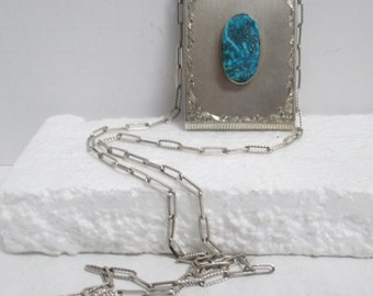 Vintage Hand Engraved Sterling Silver Ladies Necessaire w/ Natural Turquoise Center.