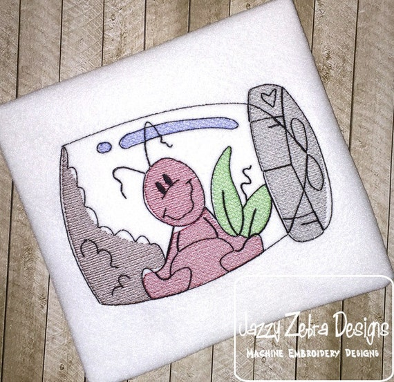 Ant in Jar Sketch Embroidery Design - ant Sketch Embroidery Design - picnic Sketch Embroidery Design - summer Sketch Embroidery Design