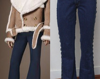 70s Vintage Denim Bell Bottoms with Side Cut Outs Hip Hugger Dazed and Confused Bell Bottom Jeans sz M