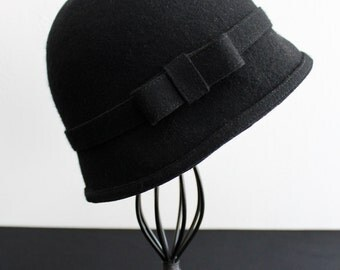 Wool Felt Cloche, Handmade, Black with Matching Felt Band and Bow
