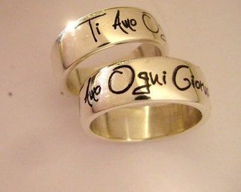 925 Silver band ring, love phrases