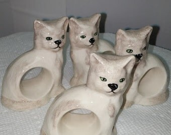 Cat Ceramic Napkin Rings