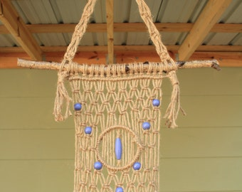 Jute Macrame Plant Hanger with Periwinkle Wooden Beads and a Maple Branch