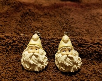 Vintage Santa Face Dangle Earrings
