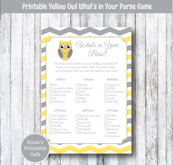 ... - Handbag Baby Shower Game - Bridal Shower Game - Grey Gray Chevron
