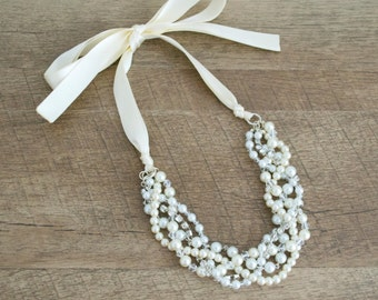 The Neomie Bridal Statement Necklace, Ivory & White Pearl Necklace, Pearl Bridesmaid Necklace, Bridesmaid Gift, Silver Statement Necklace