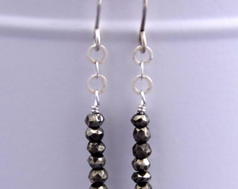 Faceted Pyrite Gemstone + Sterling Silver Earrings