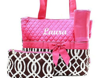Brown and Pink Trellis Monogrammed Diaper Bag for Girl or Boy  Personalized Diaper Bag