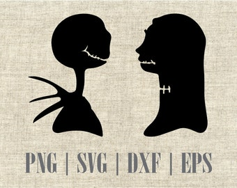 Nightmare Before Christmas Jack and Sally Silhouette dxf, svg, png and editable eps vector file, Best for vinyl and decal prints