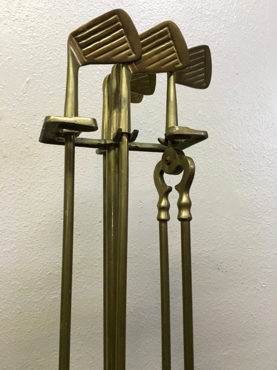 Mid Century Vintage Solid Brass And Iron Fireplace Tool Set