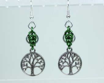 Yggdrasil Pea Leaves Byzantine Earrings, Silver and Green Chainmaille Viking Jewelry, World Tree Pendant