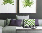 Fan Palm Tree Leaf Print Watercolor Painting, Green Leaves Botanical set 2 Tropical Illustrations, Minimalist Modern Abstract Art Home Decor