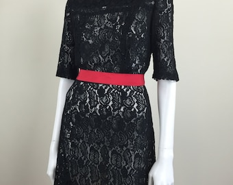 black lace sheer dress w/ elbow length sleeves 60s