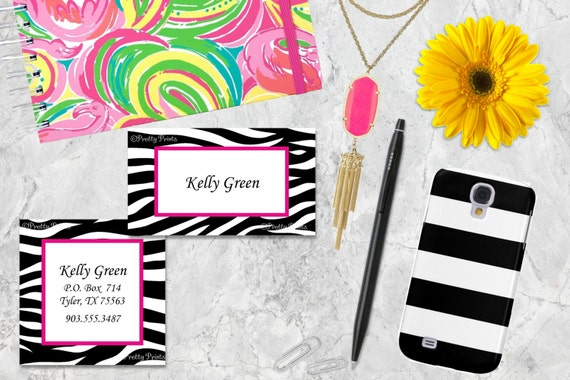 Zebra Print Gift Tags, Zebra Print, Tags, Zebra Print Business Cards, Calling Cards, Appointment Cards, Personalized Gift Tags