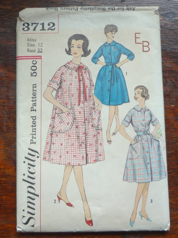 vintage 1961 simplicity 3712 house coat duster sewing pattern