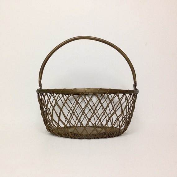 Items similar to vintage brass mesh basket large woven for Decorative crafts inc brass