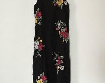 S/M - Vintage 90's Black Floral Grunge Roses Maxi Dress - small/medium