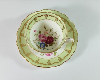 EB Foley Tea Cup and Saucer - Green tea cup & saucer - english bone china cups - green gold cup - perfect tea party